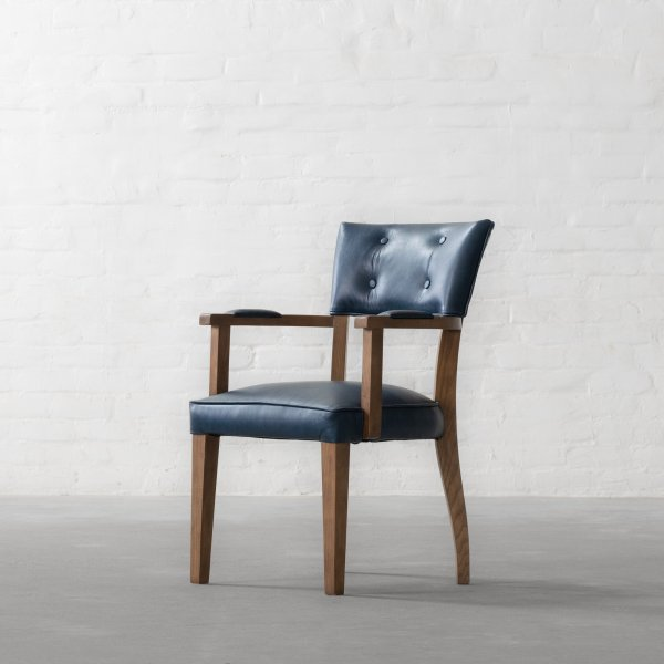 MILTON LEATHER DINING CHAIR - WITH ARMS 3