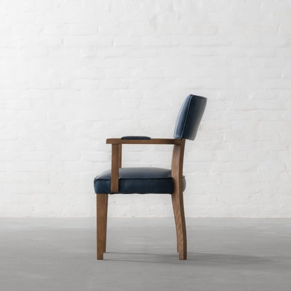 MILTON LEATHER DINING CHAIR - WITH ARMS 4
