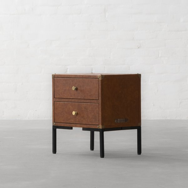 GEORGE LEATHER CLAD STORAGE SIDE TABLE 4