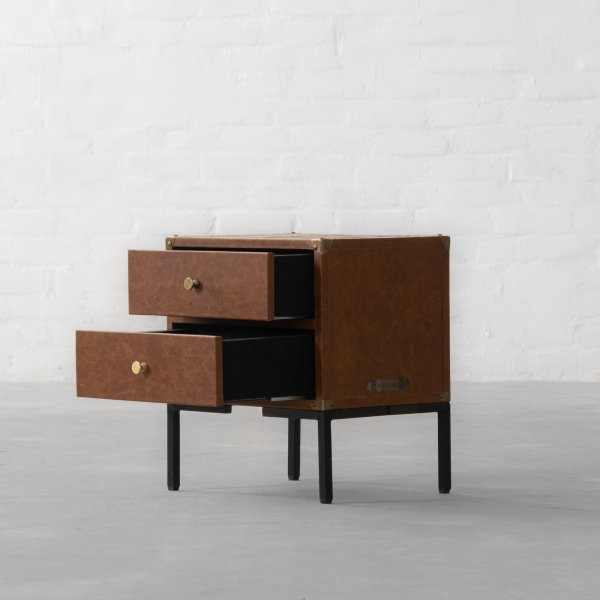 GEORGE LEATHER CLAD STORAGE SIDE TABLE 3