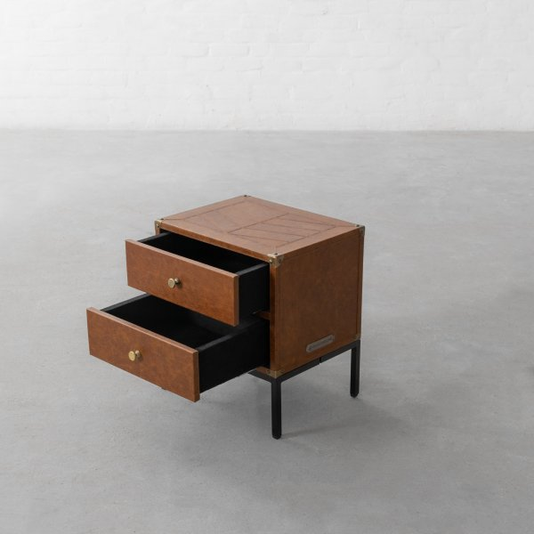GEORGE LEATHER CLAD STORAGE SIDE TABLE 2
