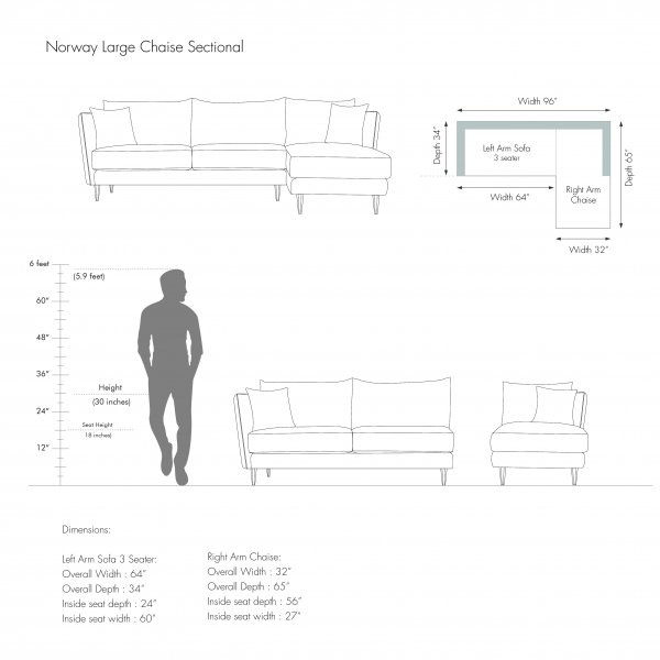 IRELAND L SHAPE LARGE CHAISE SECTIONAL 3